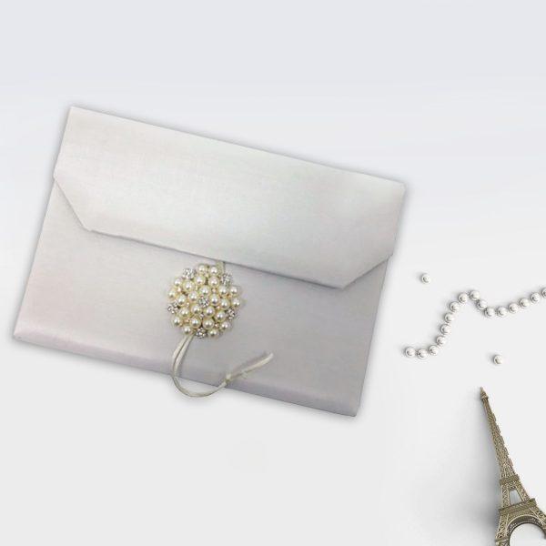 Luxury pearl wedding envelope
