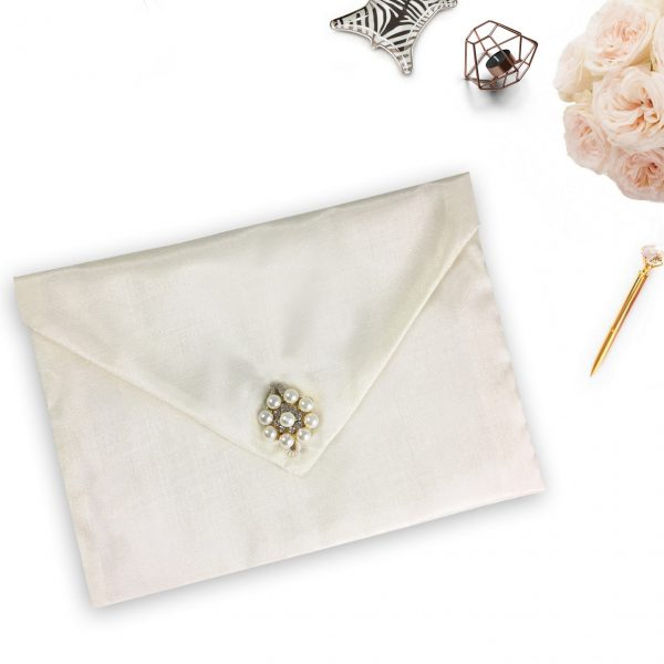 Pearl wedding pouches for invitations
