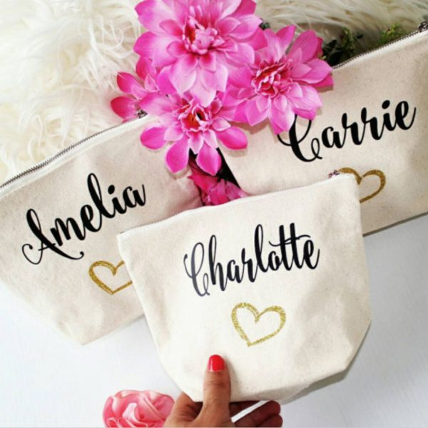 Personalized cotton bag for cosmetics and gift