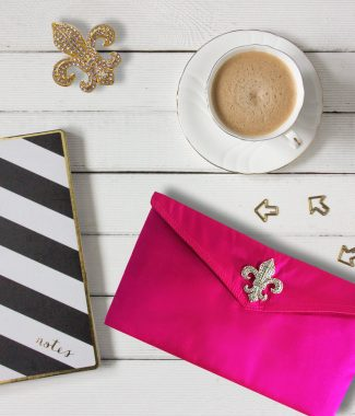 Pink silk envelope for wedding & jewelry