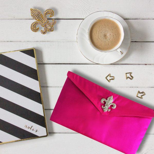 Pink silk envelope for wedding & jewelry