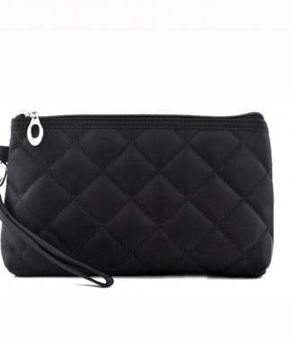 Zippered black quilted cotton bag
