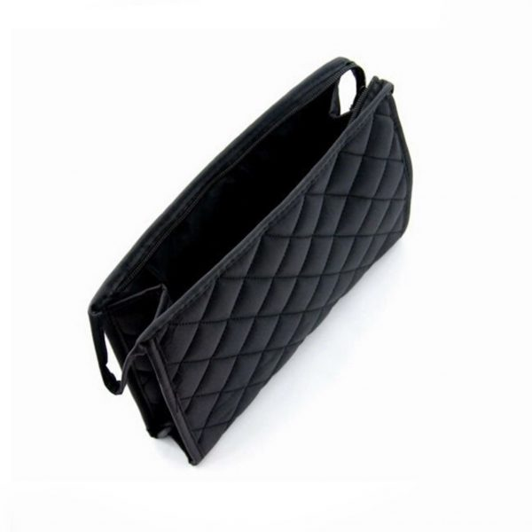 Quilted black coton cosmetic bag