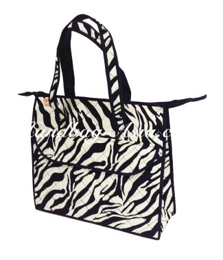 quilted zebra cotton bag