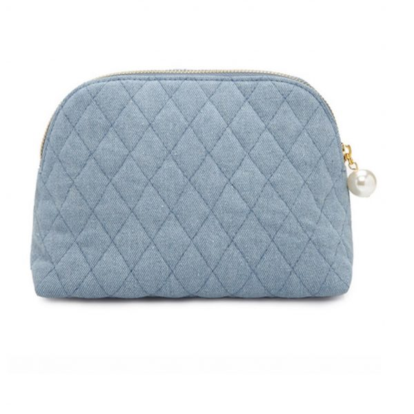 Quilted denim bag for cosmetics
