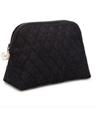 Quilted denim cosmetic bag