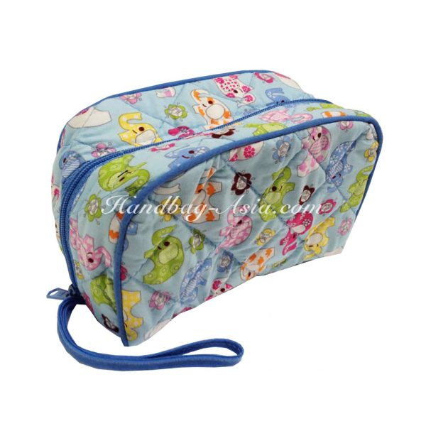 quilted elephant cosmetic bag
