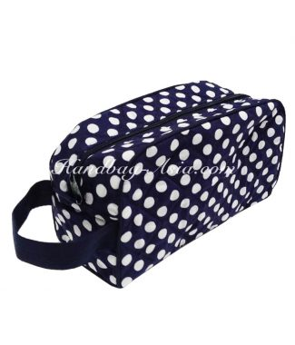 quilted polkadot cotton cosmetic bag