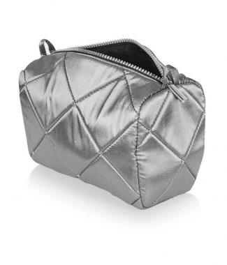Quilted silver silk cosmetic bag