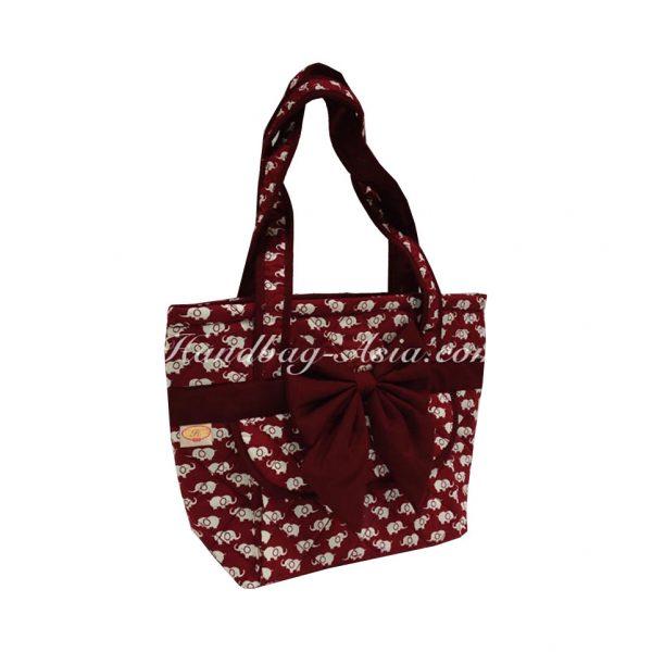 Red elephant cotton handbag