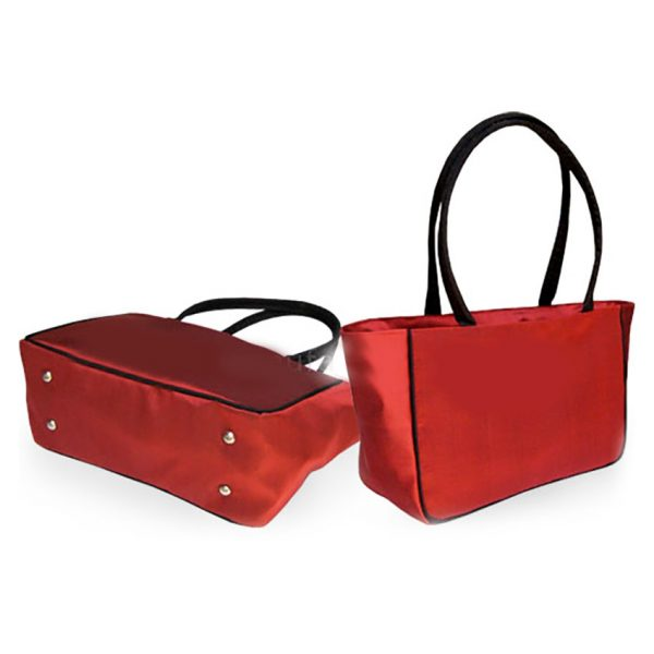 Red Thai silk handbag with shoulder handle
