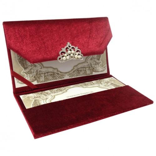 luxury red velvet envelope with pearl crown brooch handbag asia