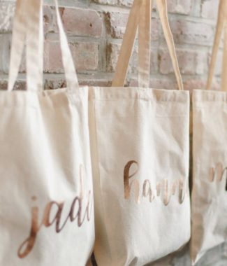 Rose Gold Printed Bridesmaid Cotton Tote Bags