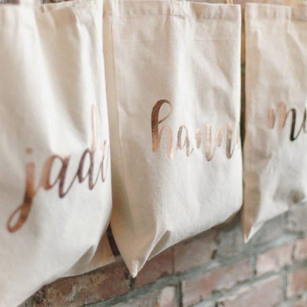 rosegold foil print on cotton bag