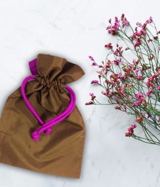 brown silk drawstring bag