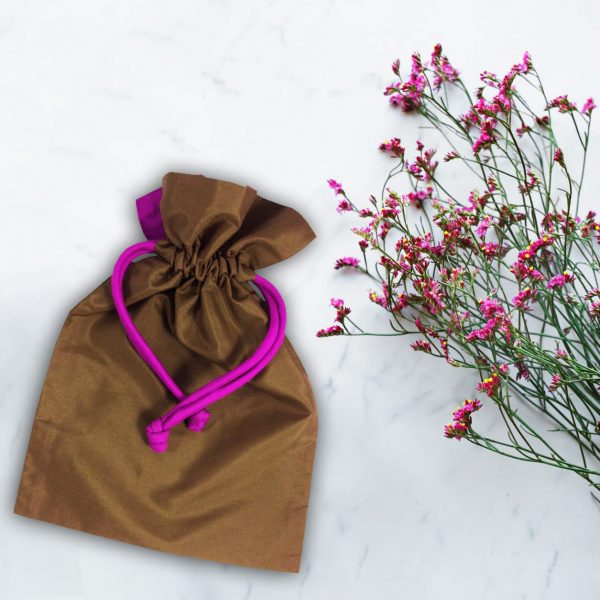 brown silk drawstring bag