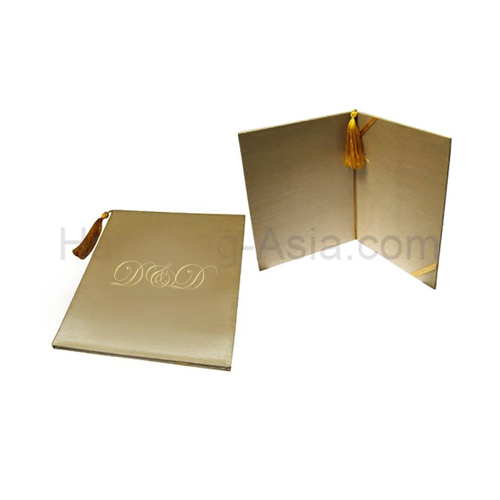 Asian Style Silk Certificate Holder Wedding Invitation Card Folios With Tassel Monogram Embroidery