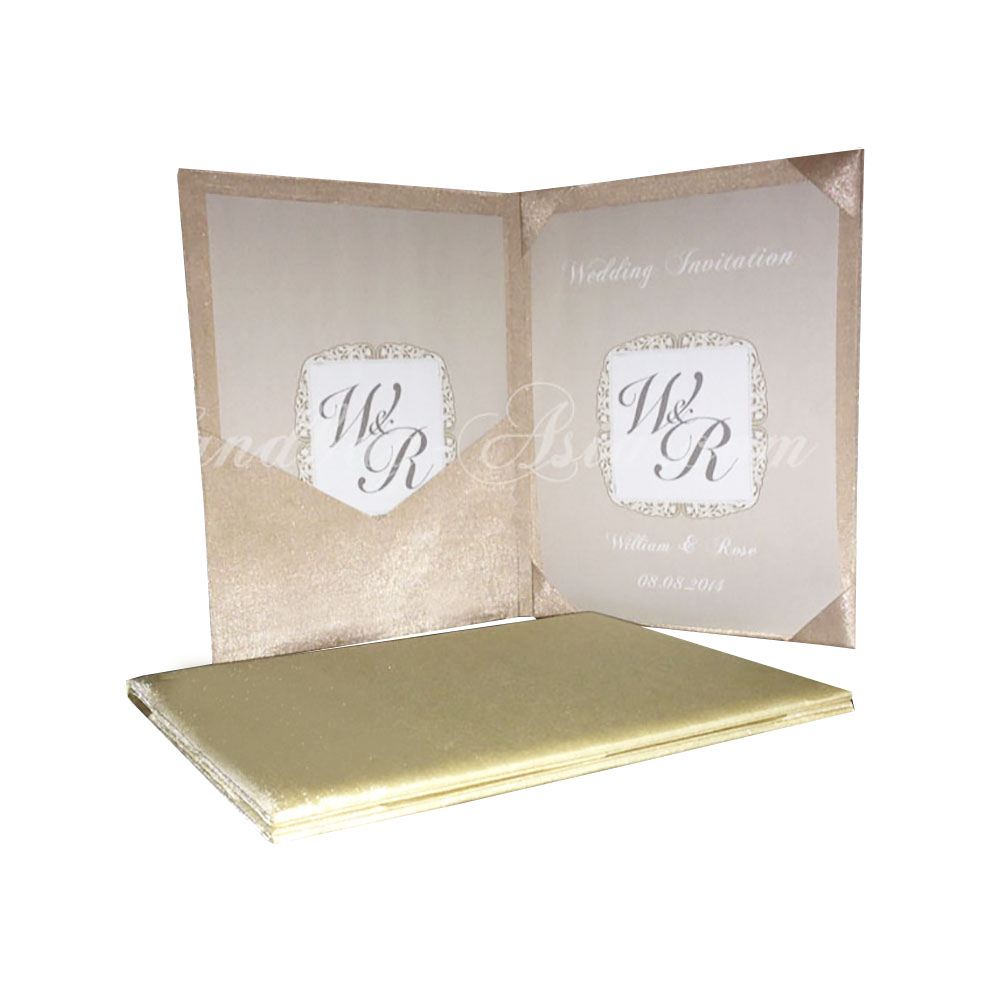 Luxury Silk Covered Book Fold Wedding Invitation With Pocket ...