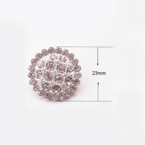silver crystal button