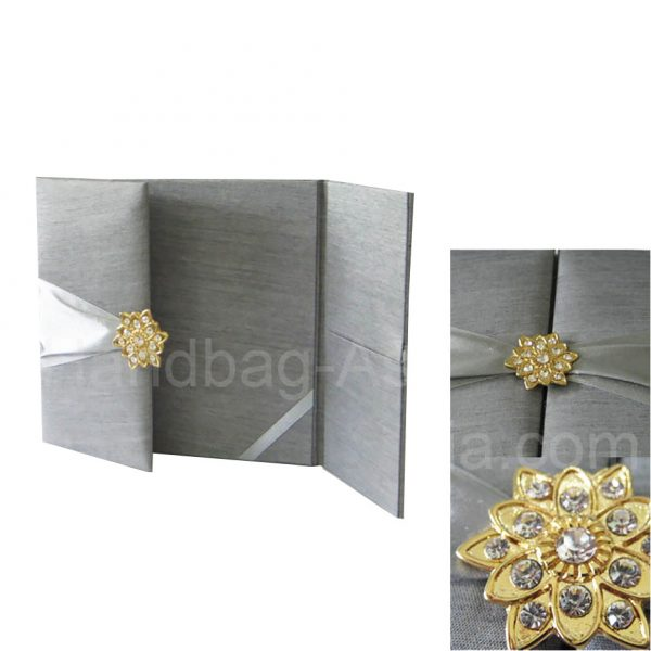 Silver silk wedding invitation