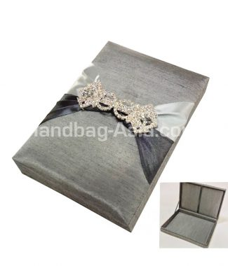 silver hinged lid wedding box