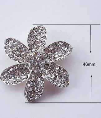 Silver flower brooch for wedding embellishment