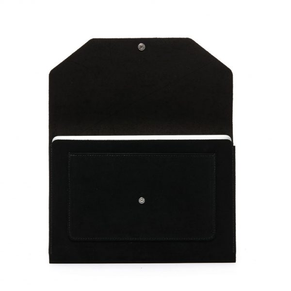 Black suede document holder