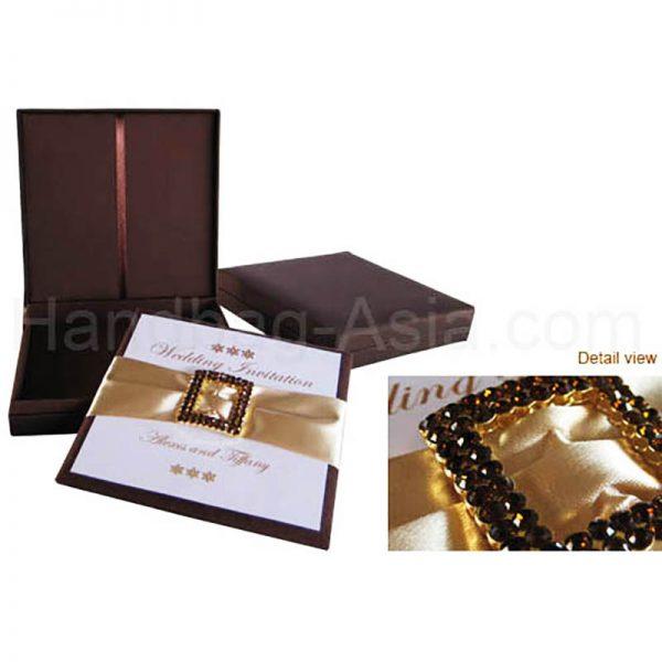 Chocolate brown silk wedding invitation box