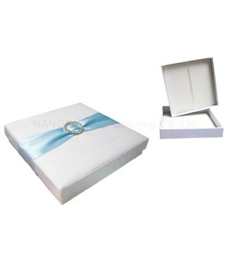 White wedding box with aqua sash