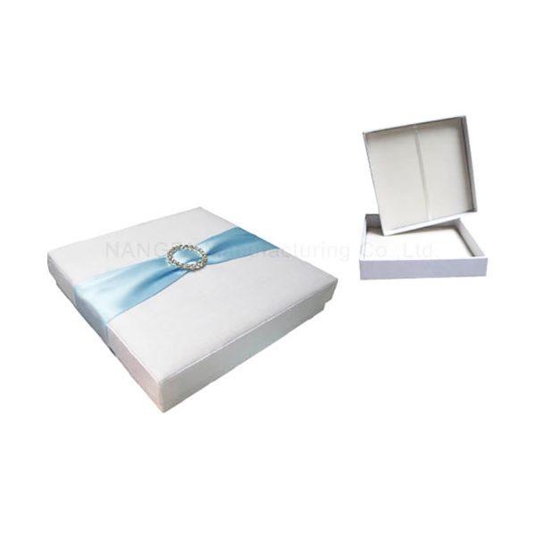 White wedding box with aqua sash