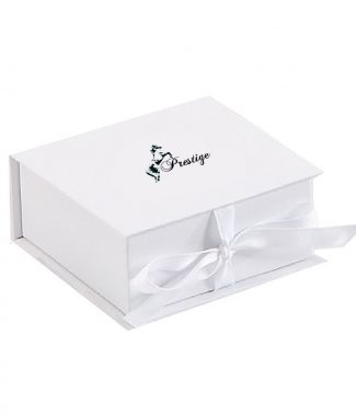 white logo printed paper gift box with ribbon bow