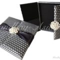 Black and silver pearl silk wedding invitation box