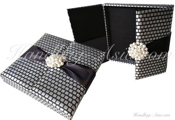 Black and silver pearl silk wedding invitation box