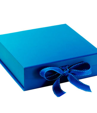 handmade blue paper wedding invitation box from Thailand