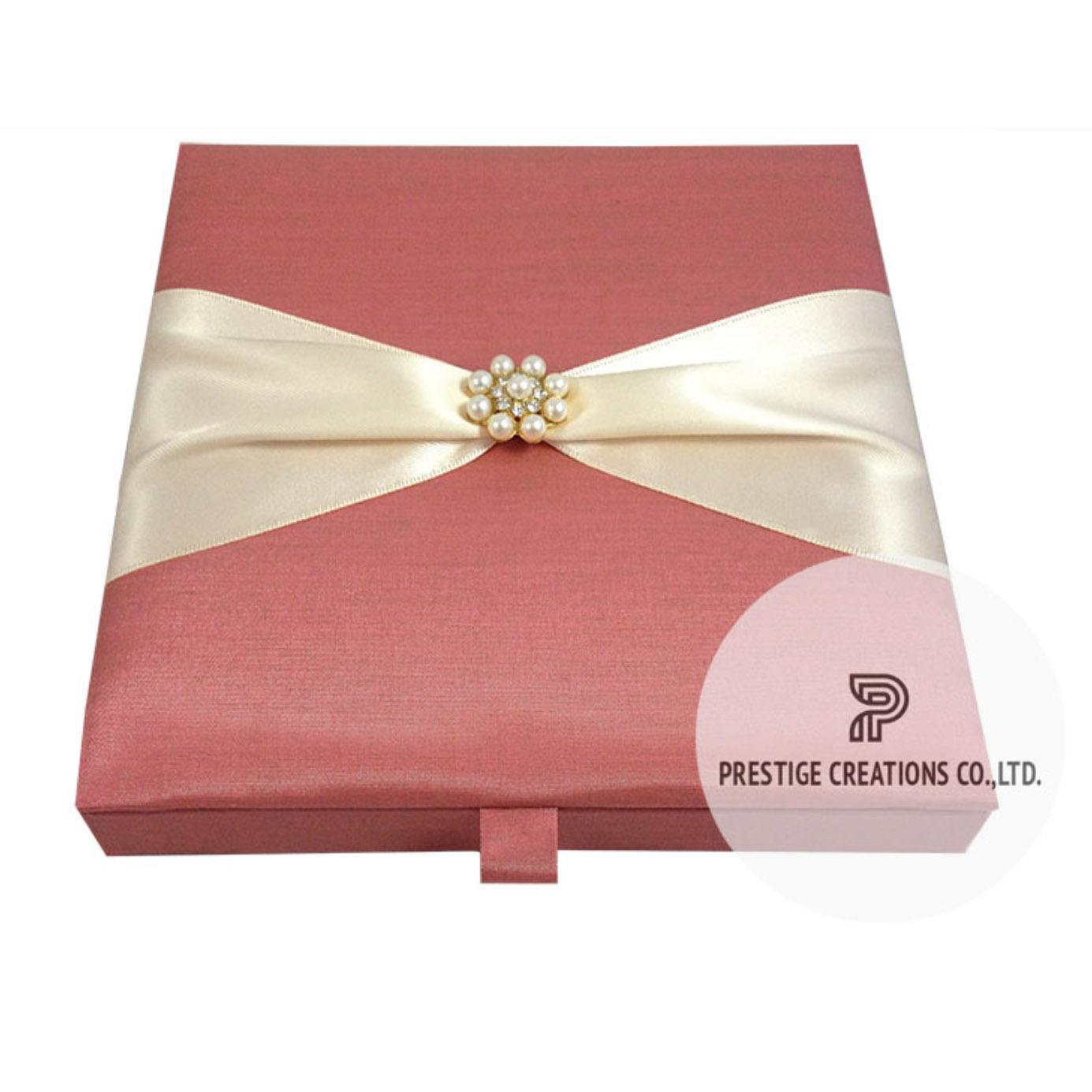 Pearl brooch silk wedding box for invitation cards for Pearl wedding invitations