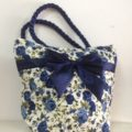 navy blue quilted cotton handbag