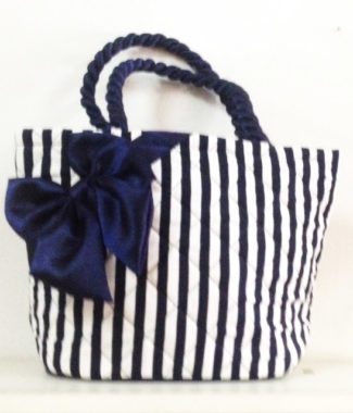 Stripe pattern cotton bag with satin bow
