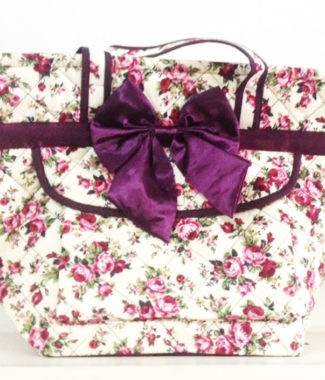 quilted cotton handbag in purple