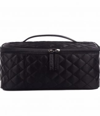 Large black quilted toiletry bag