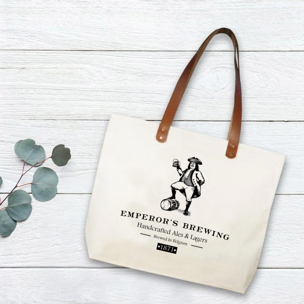 Big canvas beach bag with leather handle