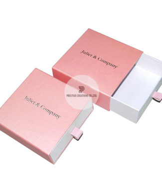 silver foil stamped blush pink drawer box