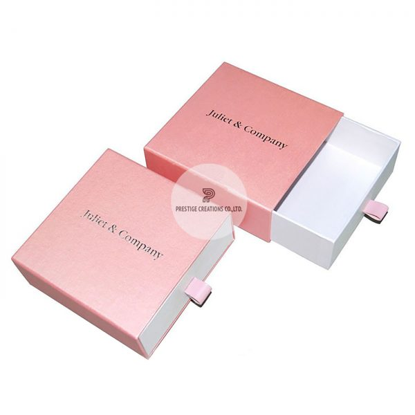 silver foil stamped blush pink drawer box