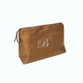 Chocolate brown bridesmaid cosmetic bag, personalised with embroidery
