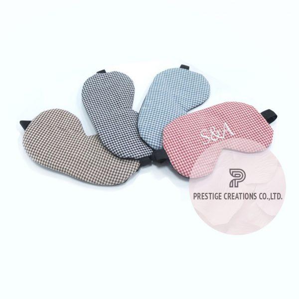 Monogram embroidered cotton sleeping eye mask