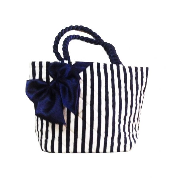 Cotton stripe bag with bow