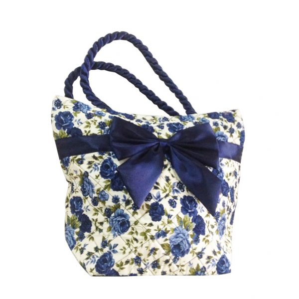 Cream & Blue Quilted Cotton Handbag With Satin Bow