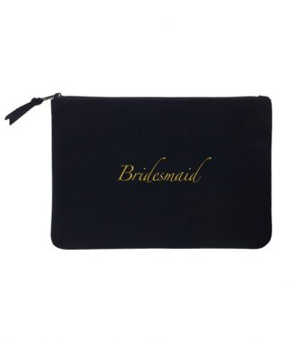 Embroidered cotton cosmetic bag