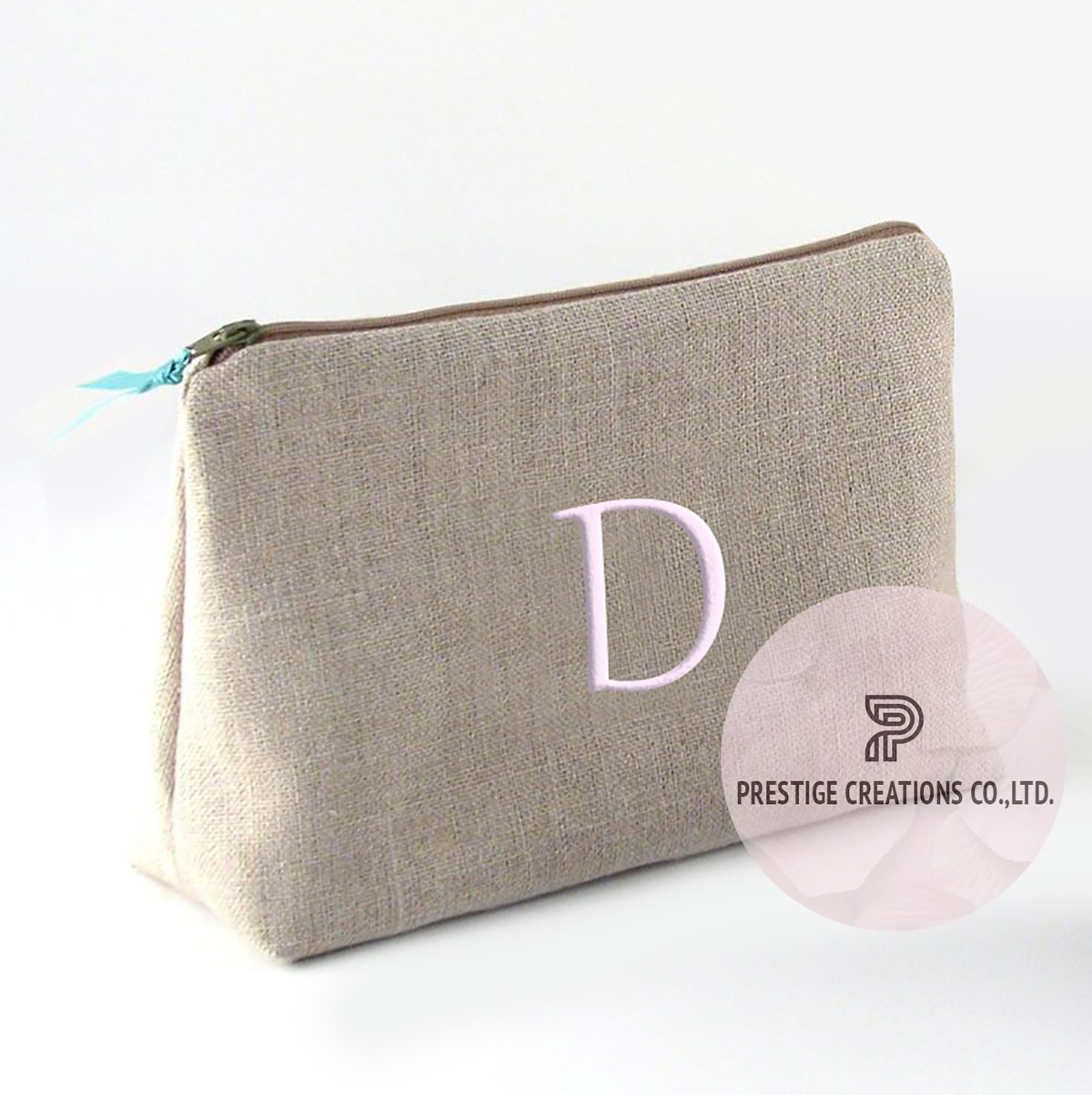 Embroidered Cotton Cosmetic Bag With Personalized Monogram