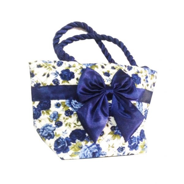 Thai Made Quilted Cotton Handbag With Satin Bow   Flower Pattern