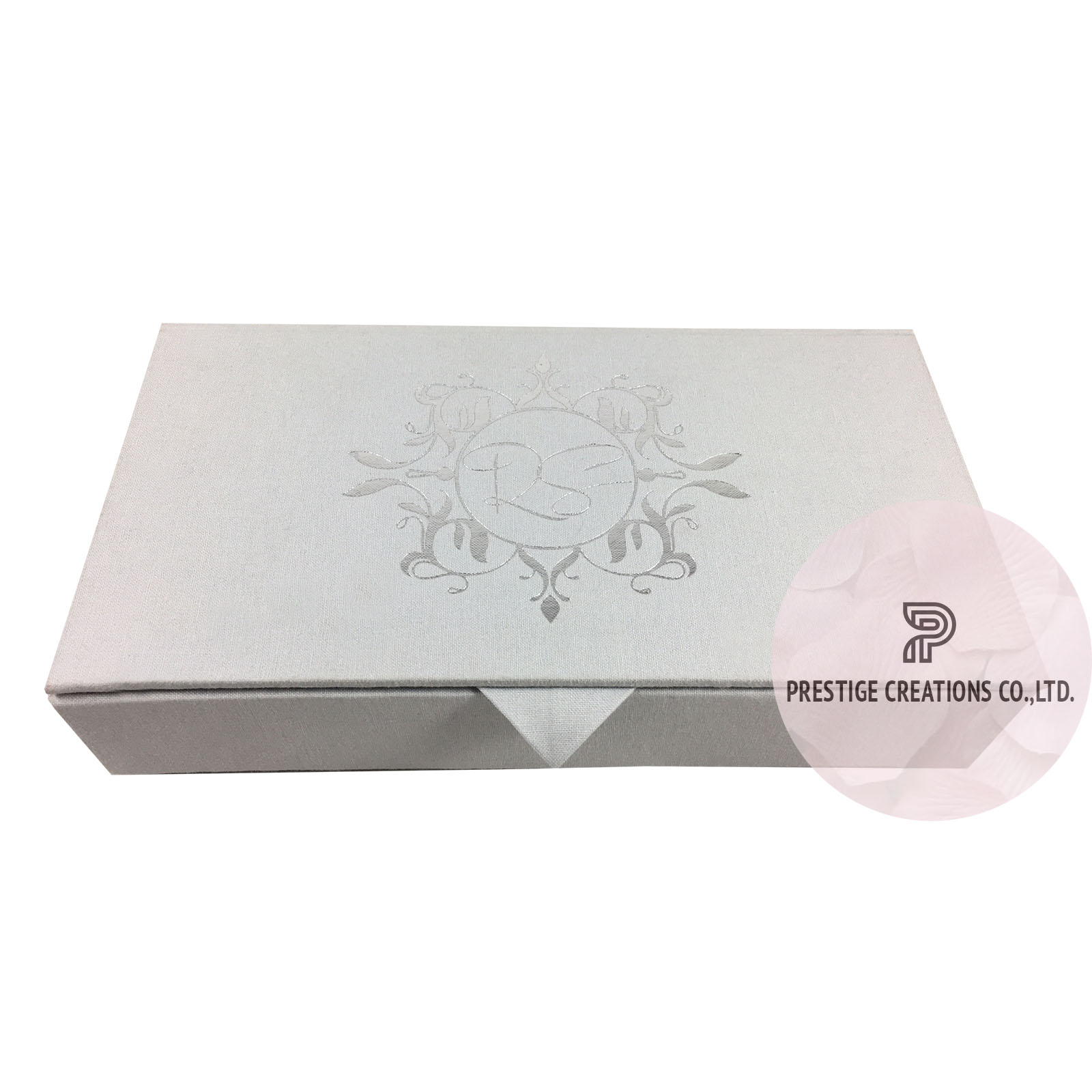 Silver Foil Wedding Invitations Monogram Foil Stamped Wedding Boxes